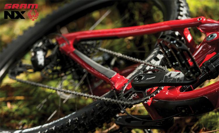 Una mountain bike equipaggiata con gruppo trasmissione SRAM NX Eagle