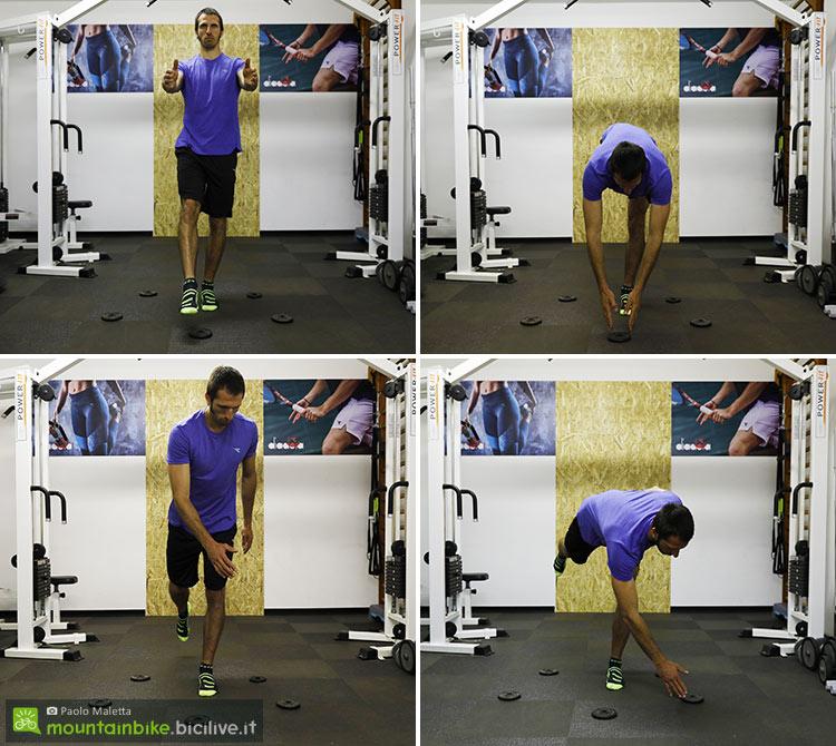 sequenza di un mezzo squat monopodalico
