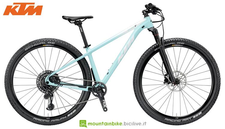 Una mountain bike front KTM MYROON 29 GLORY 12 della gamma 2019