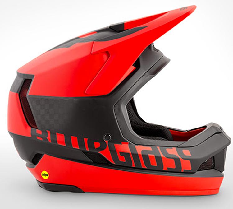 Il casco  Bluegrass Legit Carbon visto di lato in rosso