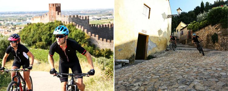 Castello Scaligero sullo sfondo della marathon mtb di Soave