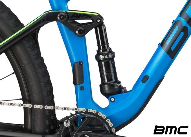 Dettaglio dell'ammortizzatore della mountain bike BMC Agonist 02 One 2019