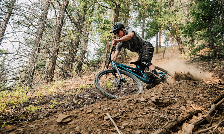 rider impegnato in un single track con una Habit