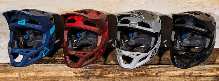 foto delle quattro colorazioni del casco integrale enduro Leatt DBX 4.0