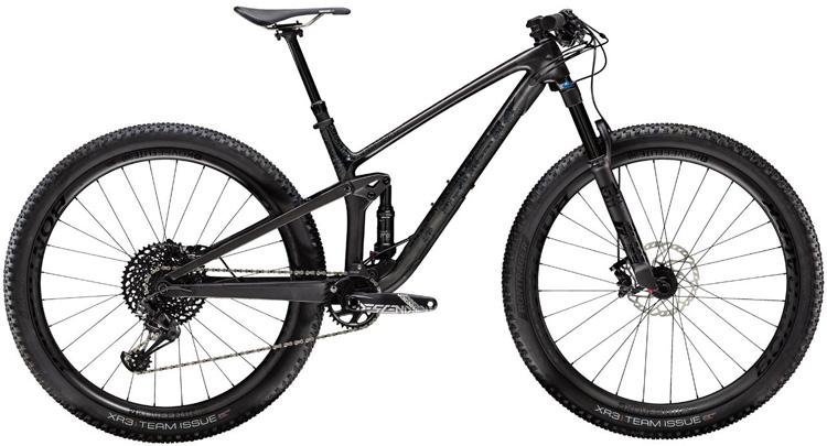 Una mountain bike Trek Top Fuel 9.8 2020 vista di lato