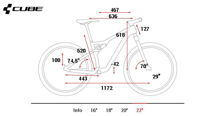 La tabella delle geometrie della mtb Cube AMS C:68 Race