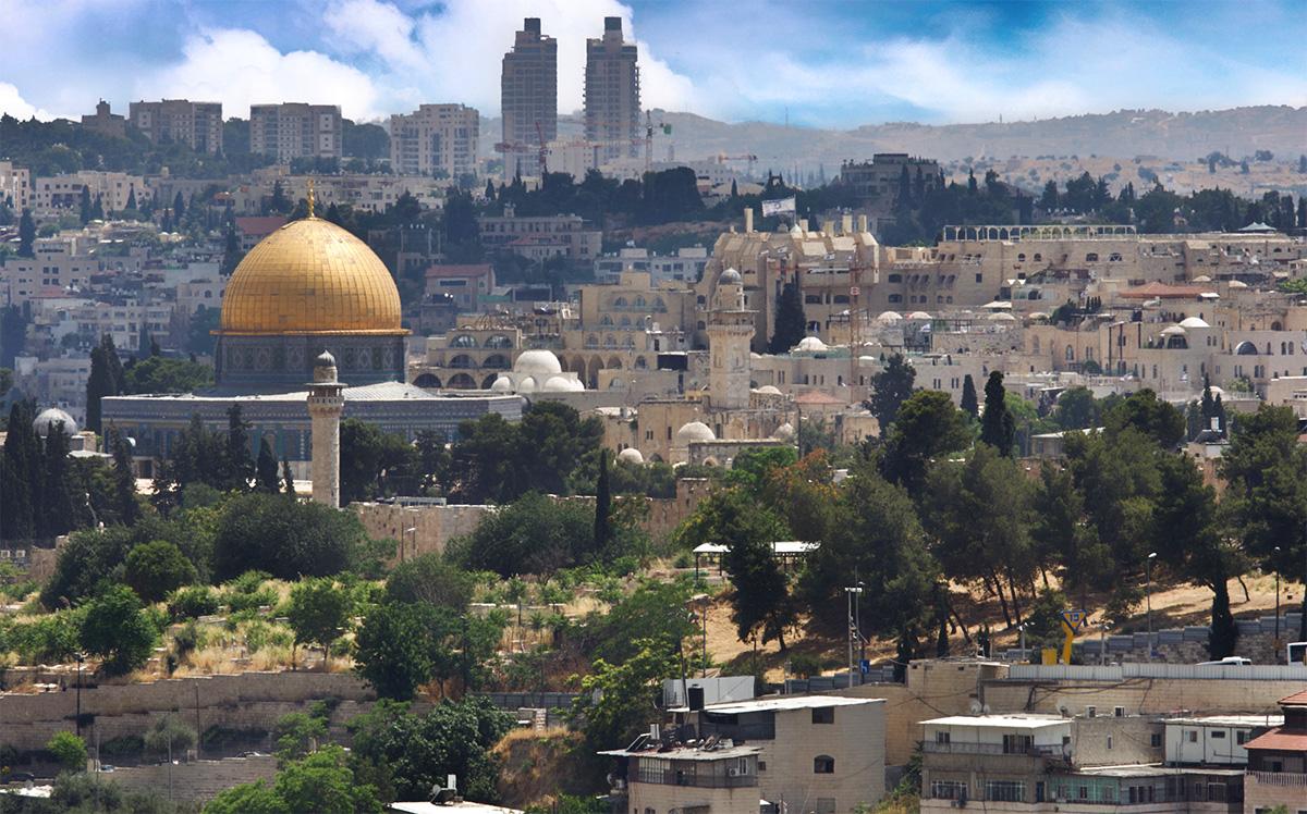 La cupola della moschea di Al Aqsa e la spianata delle altre moschee