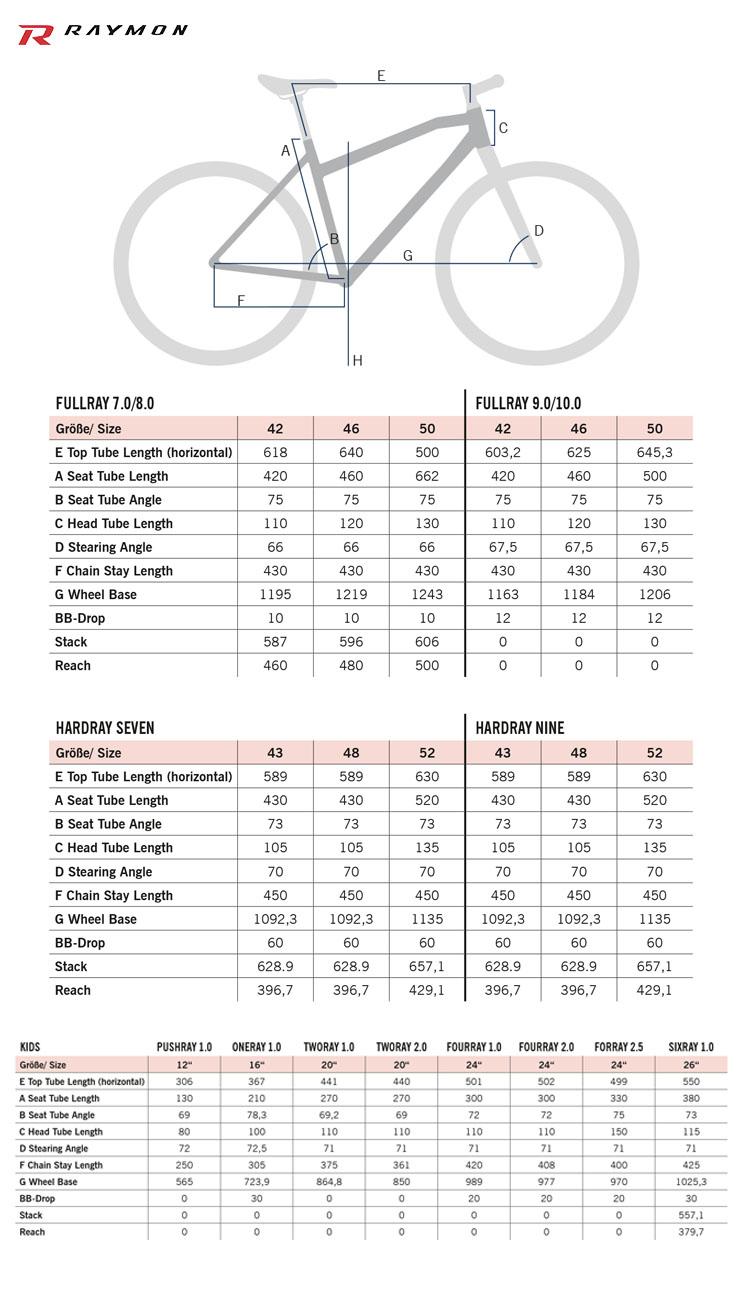 Tabelle e schemi con tutti dati relativi alle geometrie delle mtb R Raymon 2020