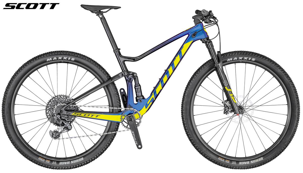 Una mountain bike biammortizzata Scott Spark 900 Team Issue AXS 2020 vista di lato