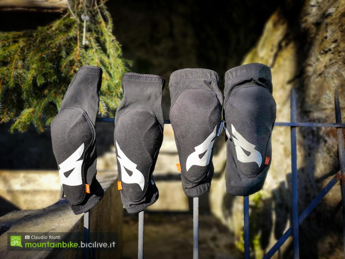 foto delle gomitiere e a destra le ginocchiere Bluegrass Skinny D3O.