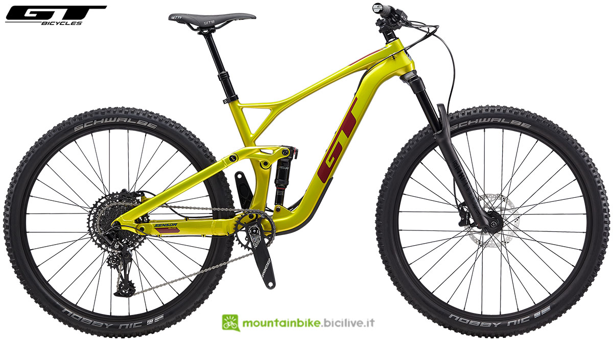Una mountain bike in carnonio GT Sensor Carbon Elite anno 2020