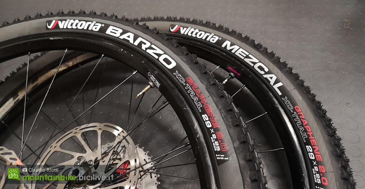 Due pneumatici per MTB Vittoria montati su cerchi