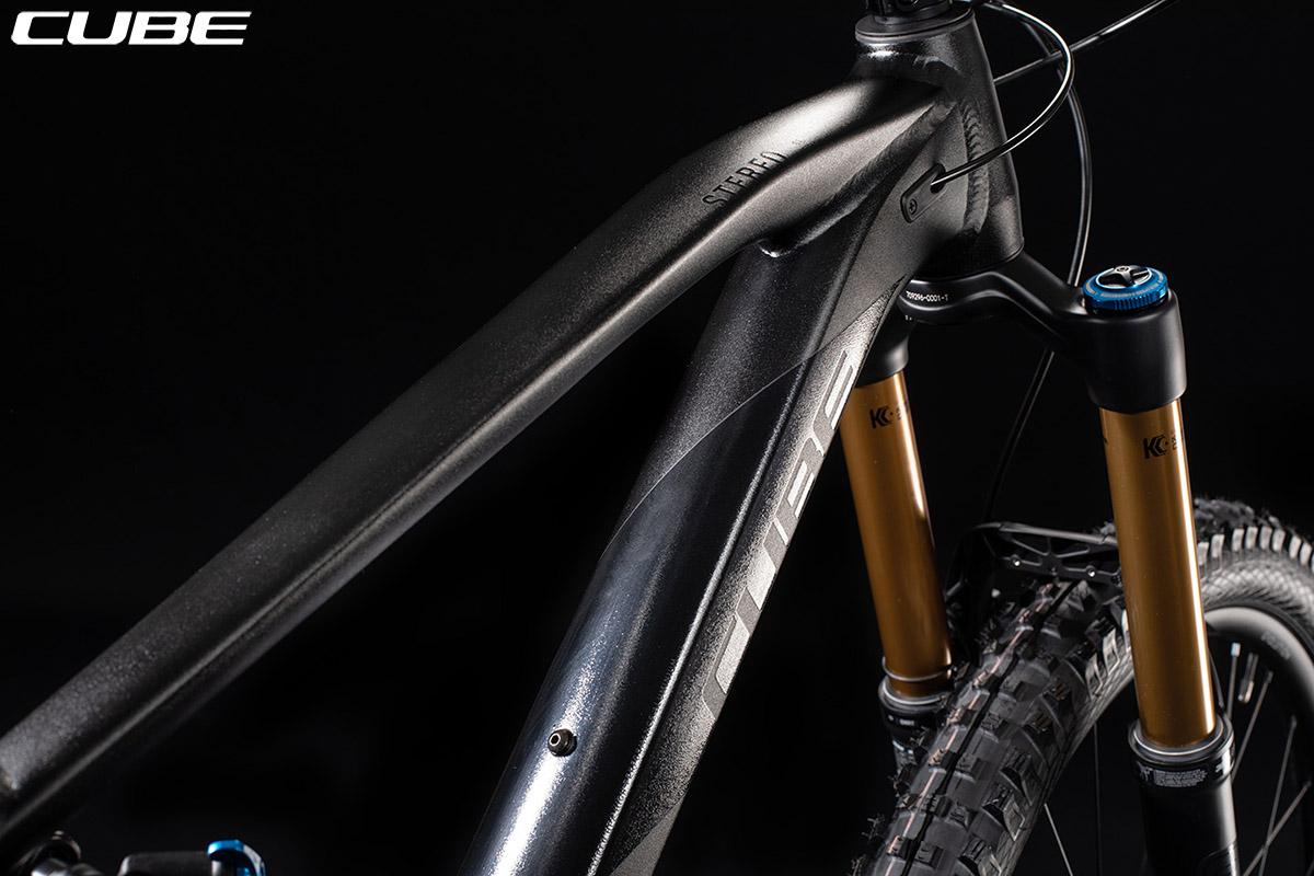 La bici Cube Stereo 170 SL 29 con forcella ed escursione di 180 mm