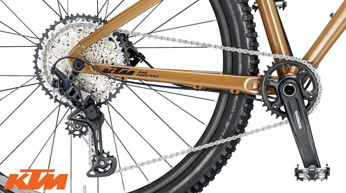 Il gruppo trasmissione Shimano SLX 12 speed equipaggiato sulla mountain bike hardtail KTM Ultra EVO 2020