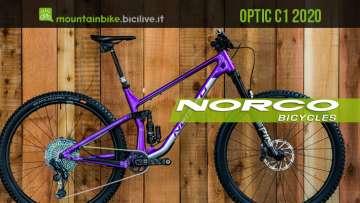 "Norco Optic C1 2020: nuova mountain bike trail 29"" full suspended"