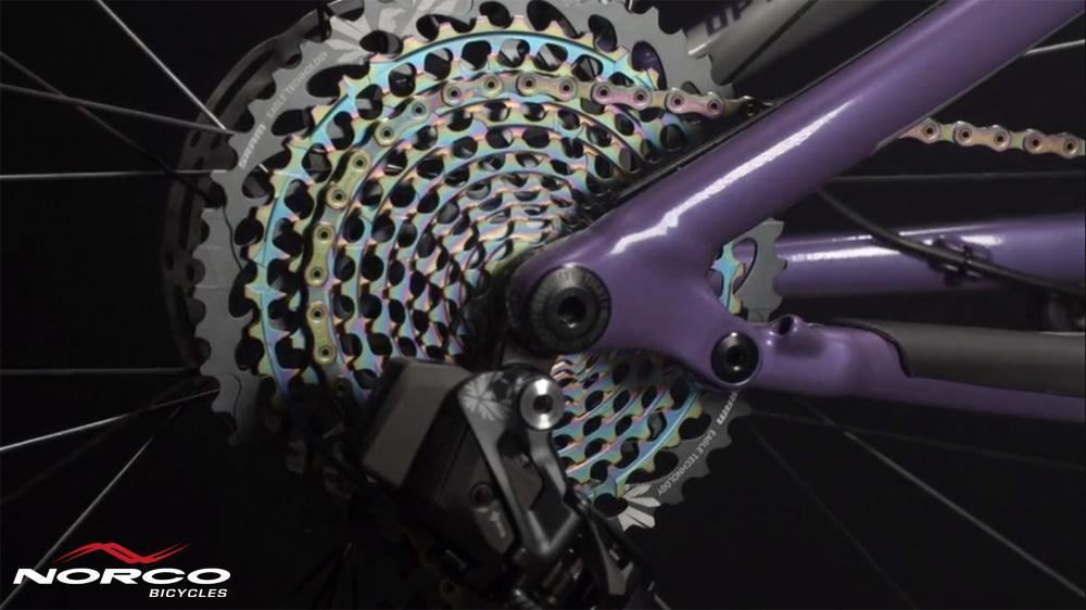 Il pacco pignoni montato sulla mtb full suspension Norco Optic C1 2020