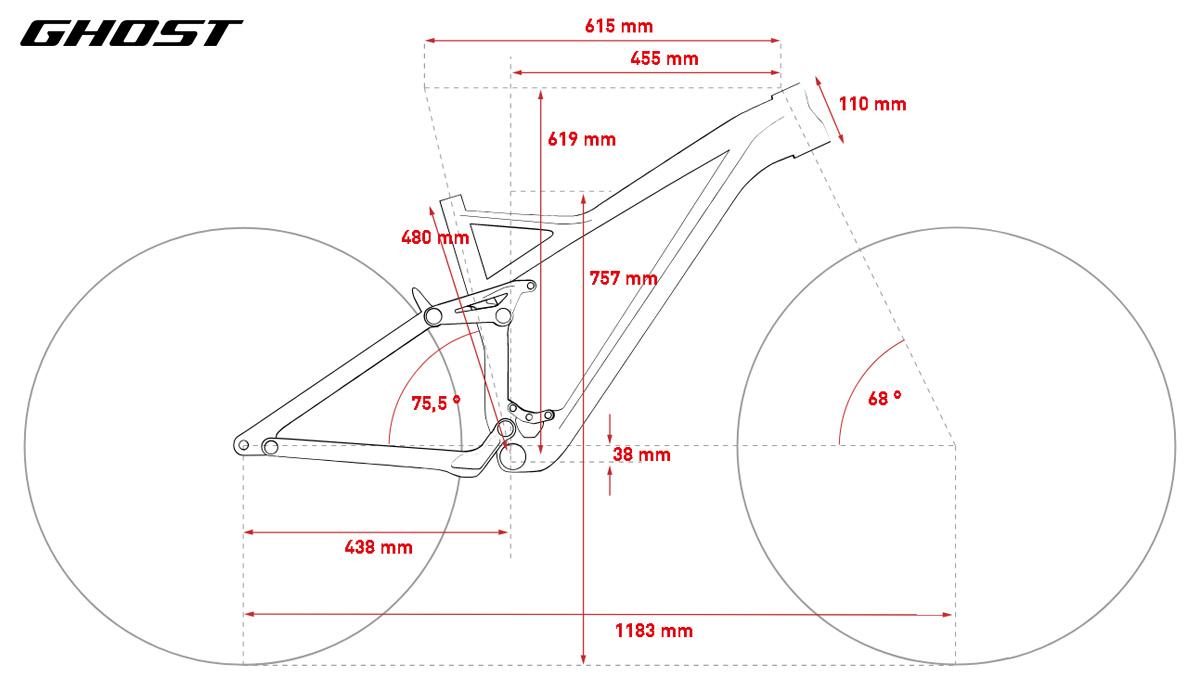 Geometrie e misure della mountain bike full suspension Ghost SL AMR 9.9 LC U 2020 in taglia L