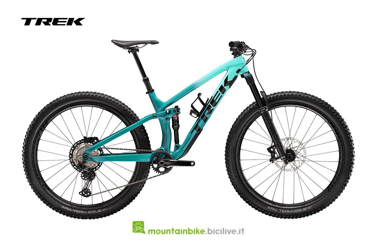 bicicletta Fuel EX 9.8 XT di profilo dal colore verdeacqua sfumato