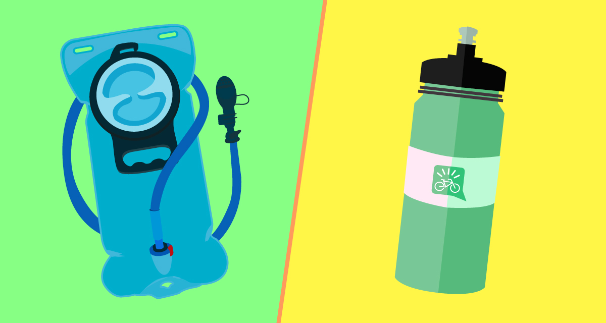 illustrazione di sacca idrica e borraccia