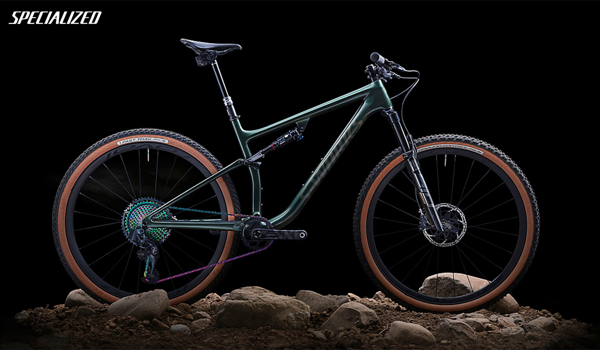 Una mtb full suspension Specialized Epic Evo 2021 di profilo