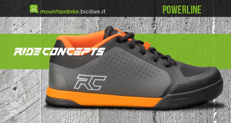 copertina dell'articolo con un modello di scarpa per mtb ride concepts powerline colore grigio e arancio