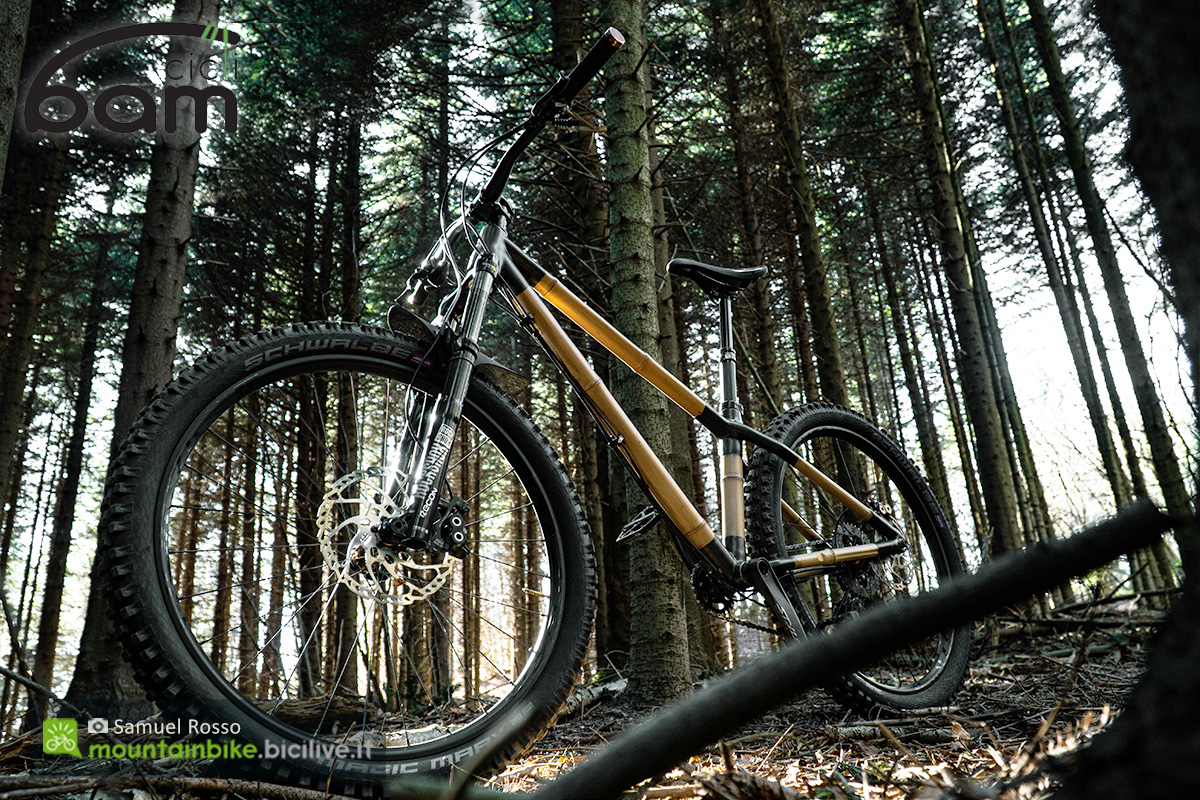 Una mountain bike front in bamboo Heidi di BAM Cicli