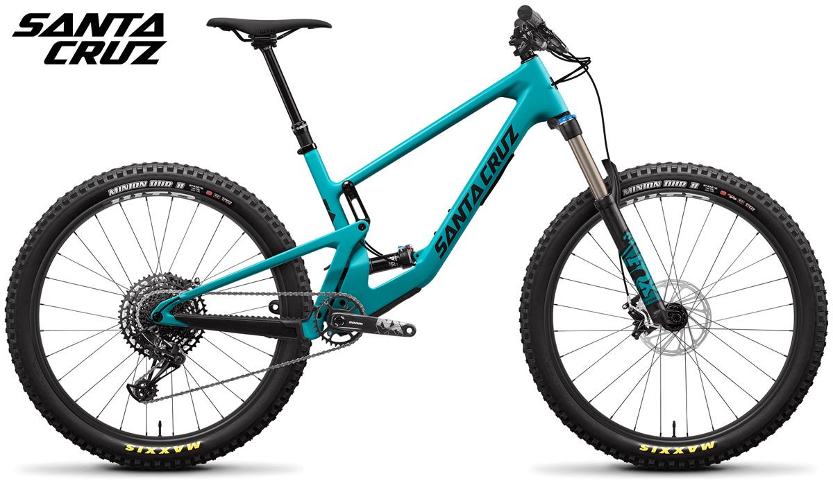 Una mountain bike biammortizzata Santa Cruz 5010 nella colorazione Blu e Nero