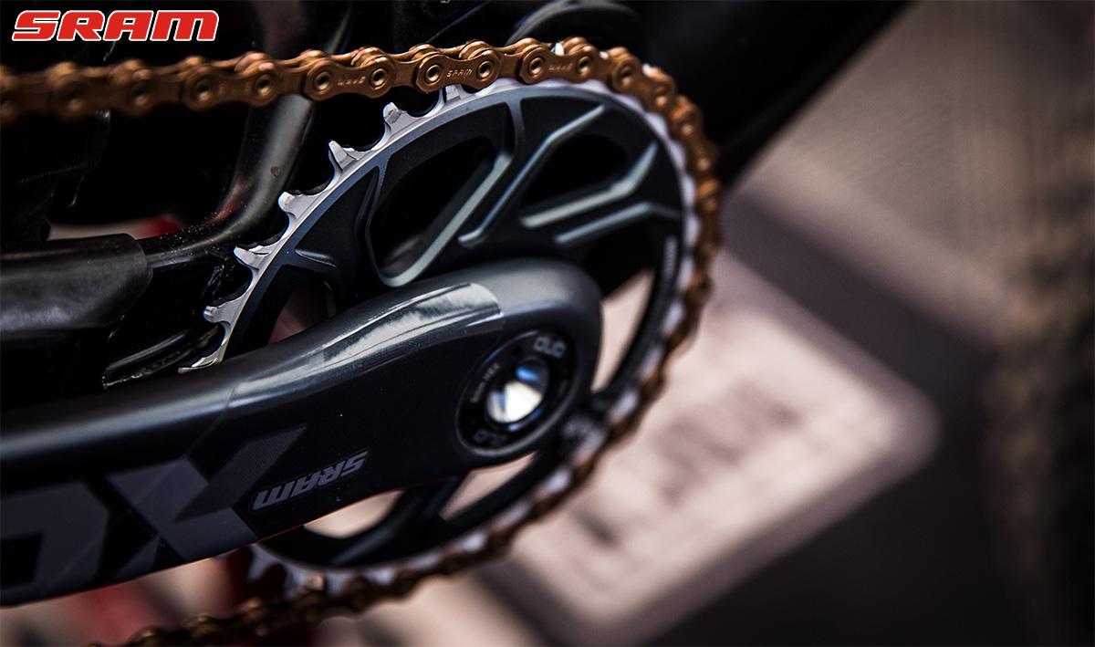 La guarnitura SRAM di una mountain bike