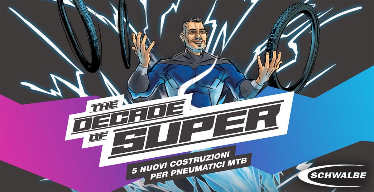 """L'illustrazione ufficiale della nuova gamma di copertoni mtb Schwalbe """"The Decade of Super"""" 2021"""