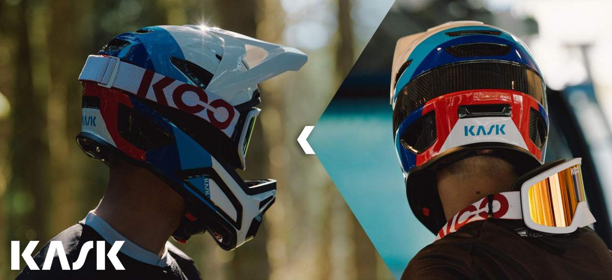Un rider indossa un casco MTB gravity full face in carbonio Kask Defender 2021