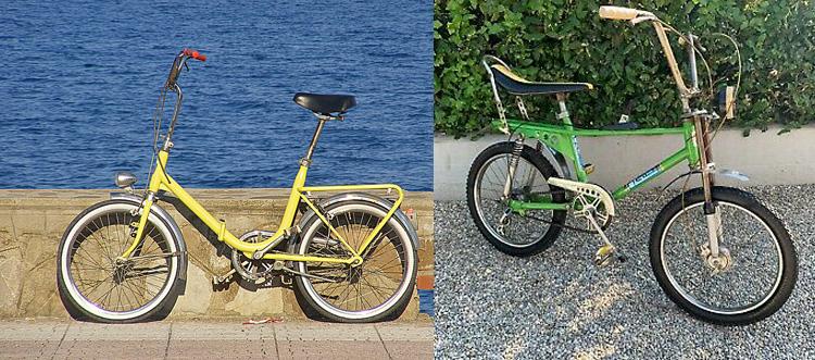 Una bicicletta Graziella e una bici da cross Saltafoss