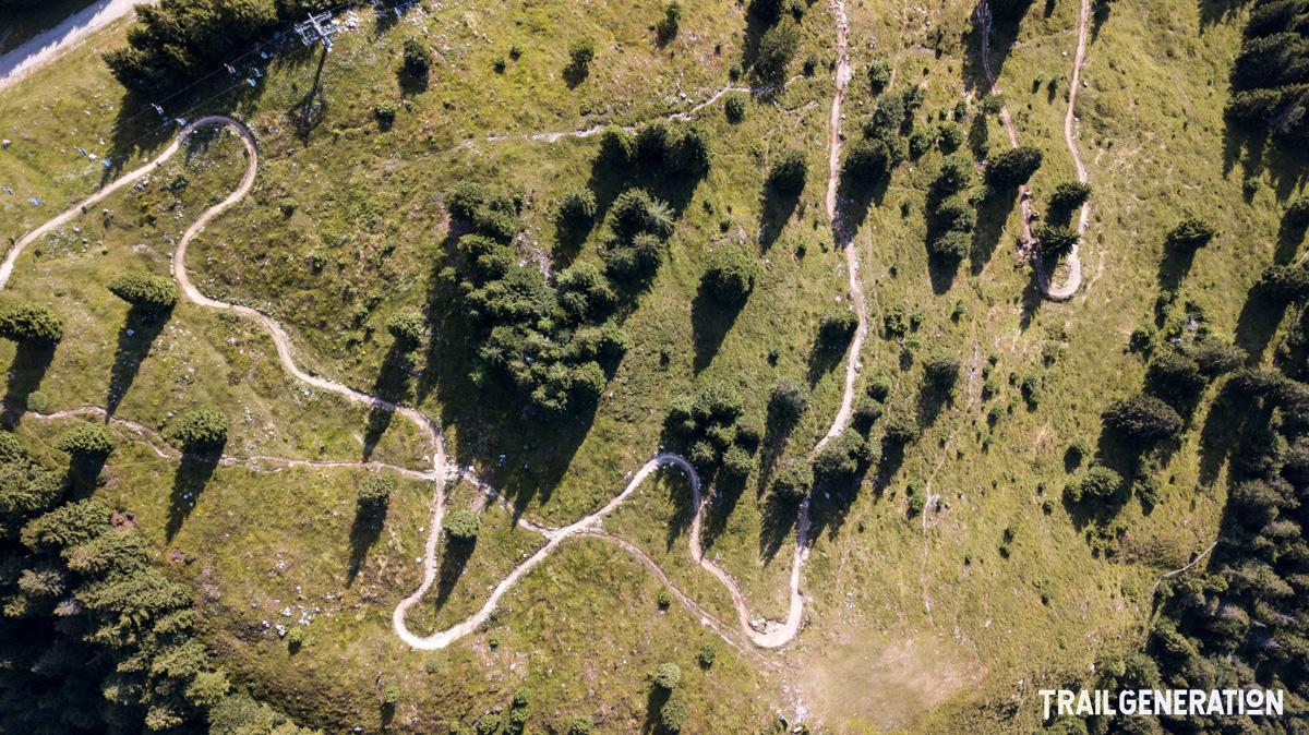 Una pista MTB costruita da Trail Generation vista dall'alto