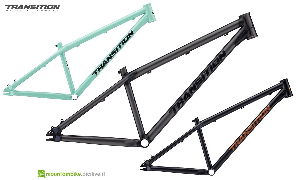 Il telaio della nuova mountainbike front Transition PBJ 2021