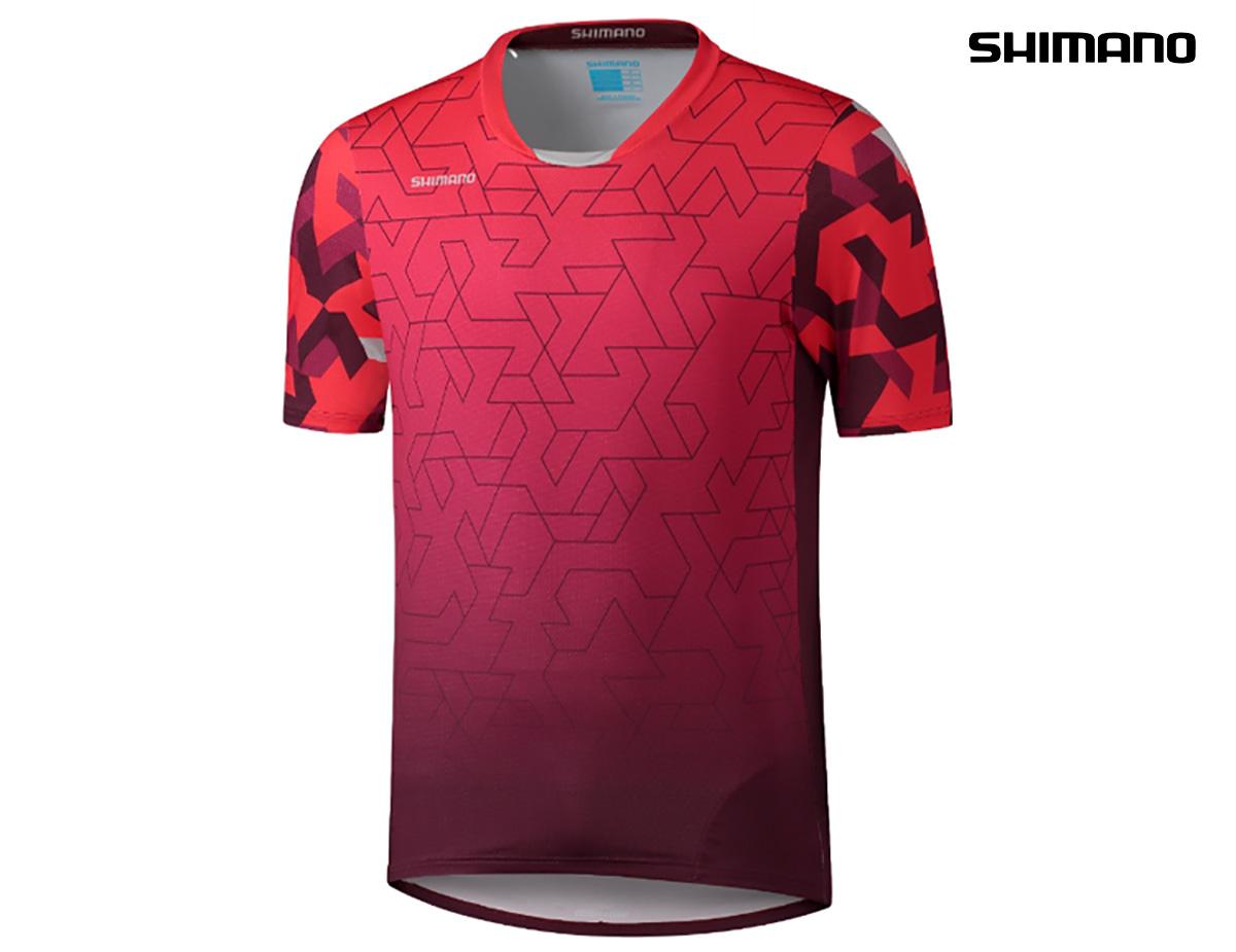 La maglia Shimano Myoko a maniche corte con collo a V in colorazione rosso