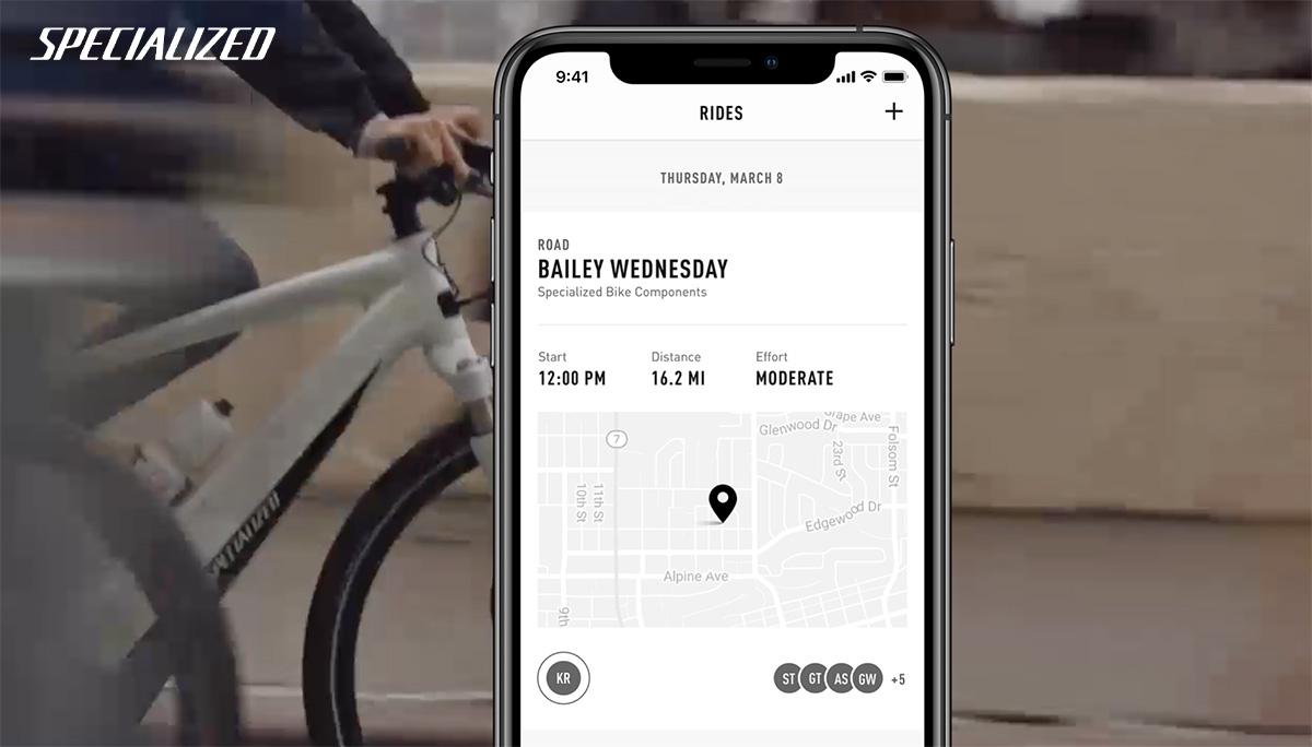 Una schermata dell'app Rider Hub di Specialized