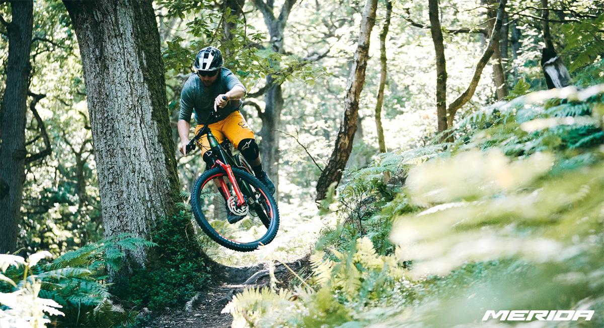 Rider MTB salta in discesa