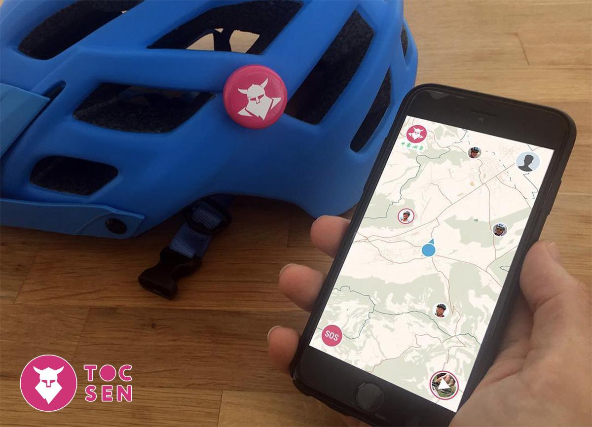 La app del sensore di caduta Tocsen per monitorare la posizione del rider