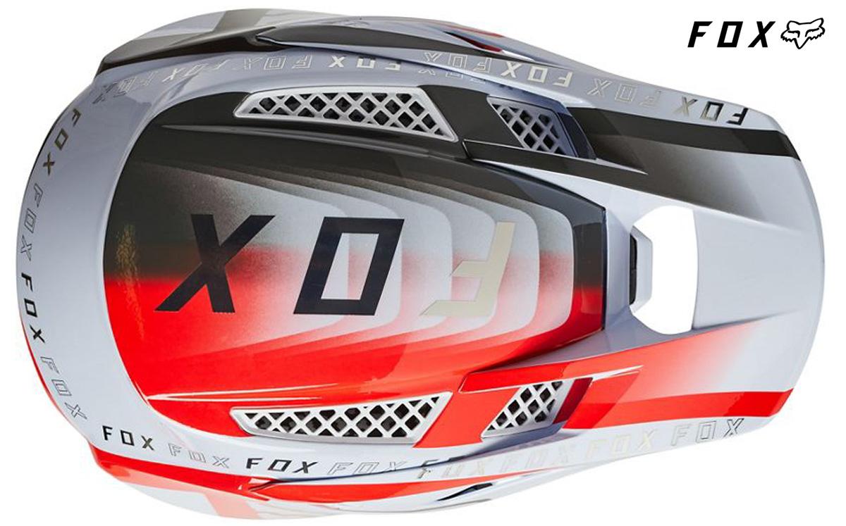 Il nuovo casco per mountainbike Fox Rampage Pro Carbon 2022 visto dall'alto
