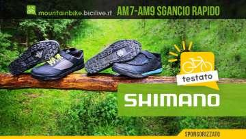 Foto delle scarpe Shimano AM7 e Am9 per mtb e pedali a sgancio