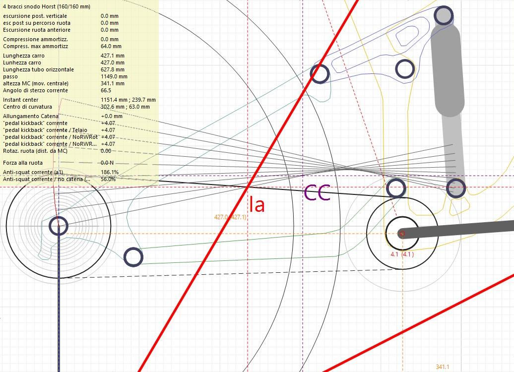disegno dello schema ammortizzante della Norco Range 650B